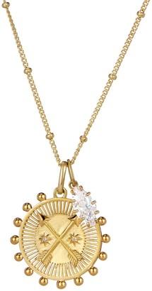 One And One Studio Cross arrow medallion talisman pendant & oval CZ Jewel charm necklace pendant set on chain