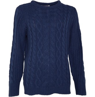 Board Angels Women Cable Knit Sweater Mid Grey