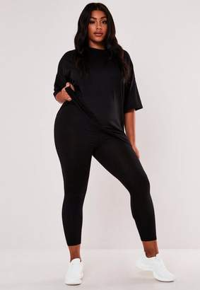 Missguided Plus Size Black Oversized T Shirt And Leggings Co Ord Set