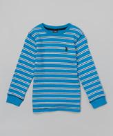 U.S. Polo Assn. Teal Blue Stripe Tee - Boys