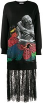 Valentino x Undercover Lovers print lace trimmed sweater dress
