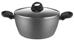 """Amercook Aluminum Casserole Glass Lid with Induction Buttom 8.7"""""""