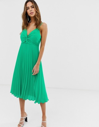 ASOS DESIGN cami midi dress with pleat skirt and knot bodice
