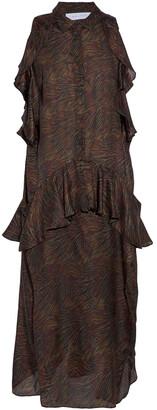 IRO Valerya Ruffled Zebra-print Silk Crepe De Chine Midi Dress