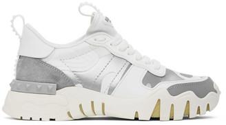Valentino White and Silver Garavani Camo Rockrunner Sneakers