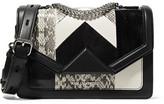 Karl Lagerfeld K/klassic Elaphe, Suede And Leather Shoulder Bag - Black