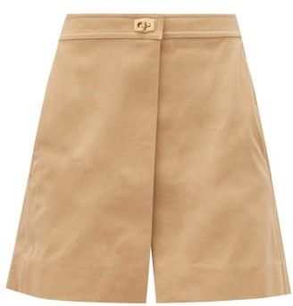 Givenchy Lock-hardware Cotton-gabardine Mini Skort - Beige