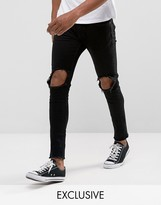 Only & Sons Jeans In Skinny Fit With Open Knees And Cut Off Hem