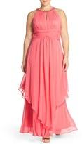 Eliza J Plus Size Women's Embellished Keyhole Neck Chiffon Gown