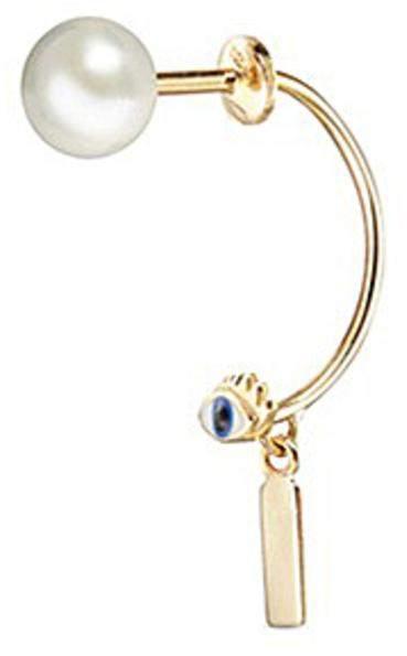 Delfina Delettrez 'ABC Micro Eye Piercing' freshwater pearl 18k yellow gold single earring - I