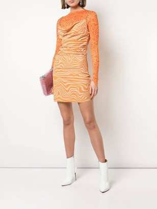 Orange And Beige Print Mini Dress