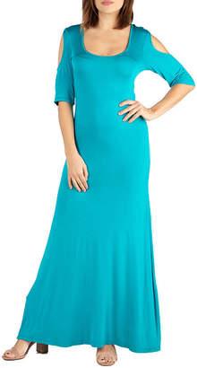 24/7 Comfort Apparel 24/7 Comfort Dresses Elbow Sleeve Cold Shoulder Maxi Dress