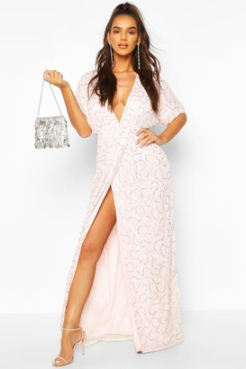 boohoo Boutique Sequin Plunge Maxi Dress