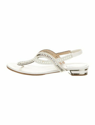 Rene Caovilla Leather T-Strap Sandals White
