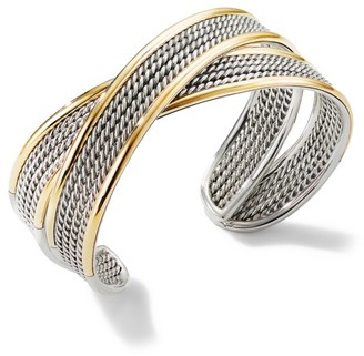 David Yurman Origami 18K Yellow Gold & Sterling Silver Crossover Cuff