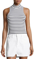 Frame Striped Mock-Neck Tank Top, Blue/White