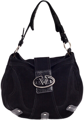 Valentino Black Suede and Python Leather Crystal Catch Hobo