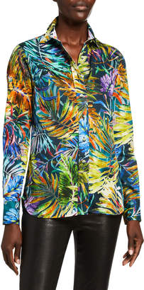 Robert Graham Carmen Tropical Leaf Print Button Down Shirt