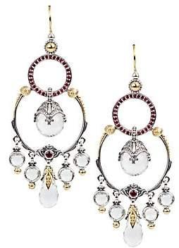 Konstantino Women's Sterling Silver/18K Yellow Gold Crystal & Corundum Chandelier Earrings