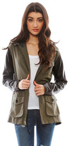 Jet by John Eshaya Leather Sleeve Army Jacket with Hood in Army/Black