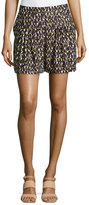 Halston Spotted Knife-Pleated Silk Shorts, Daffodil Linear
