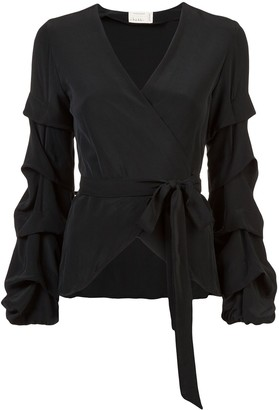 Nicole Miller tidal pleat wrap top
