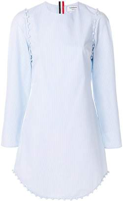 Thom Browne University Stripe Bridal Button Dress In Poplin