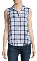 Frank And Eileen Fiona Sleeveless Grid Italian Twill Shirt, Blue