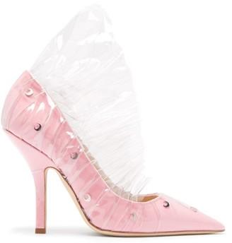 Midnight 00 Shell Crescent Cotton & Pvc Ruffle Pumps - Pink