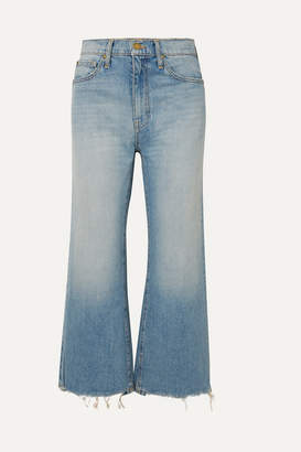 The Great The Rider Cropped Frayed High-rise Wide-leg Jeans - Light denim