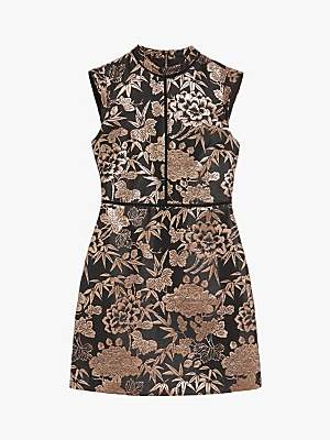 Oasis Oriental Jacquard Dress, Black/Multi