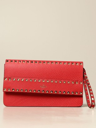 Valentino Rockstud Bag In Hammered Leather With Studs