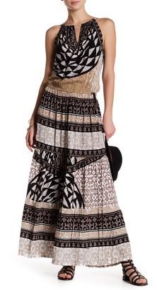 Hale Bob Halter Front V Cutout Print Maxi Dress