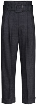 Brunello Cucinelli High-rise straight wool paperbag pants