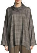 eskandar Plaid Cowl-Neck Monk's Top