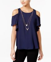Amy Byer Juniors' Ruffle-Sleeve Cold-Shoulder Top with Necklace