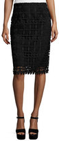 Nanette Lepore Floral Lace Pencil Skirt, Black