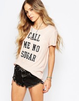 Maison Scotch Call Me No Sugar Shortsleeve Top in Pink