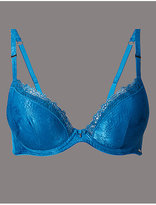 Autograph Satin Embroidered Trim Padded Plunge Bra A-E