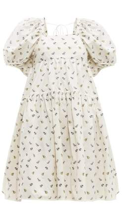 Cecilie Bahnsen - Ronja Floral-jacquard Puff-sleeve Cotton Dress - Womens - Ivory Multi