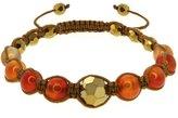 Gem Stone King 8mm Orange Agate and Cross Cut Fancy Beads on Brown String Adjustable Bracelet