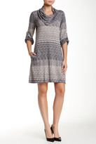 Max Studio Roll Bell Sleeve Cowl Neck Shift Dress