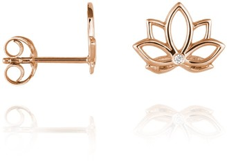 Perle de Lune Lotus Diamond Ear Studs - 9k Rose Gold