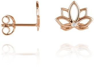 Perle de Lune Lotus Diamond Ear Studs Rose Gold