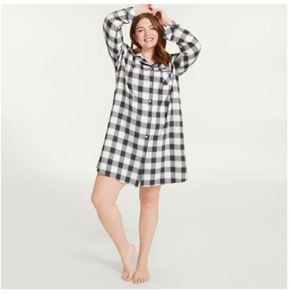 Joe Fresh Women+ Flannel Chemise, White (Size 3X)