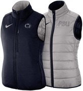 Nike Women's Gray/Navy Penn State Nittany Lions Shield Puffer Reversible Full-Zip Vest