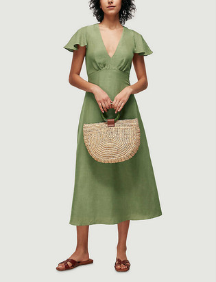 Whistles Flared-sleeve woven midi dress