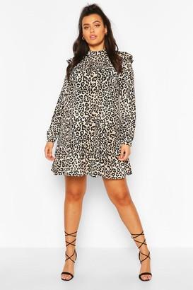 boohoo Plus Woven Leopard Smock Dress