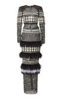 Balmain Patchwork Long Sleeve Dress