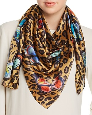 Echo Butterfly Leopard Print Silk Scarf - 100% Exclusive